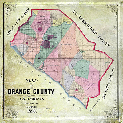 1889 Orange County California Map Poster by Jon Neidert