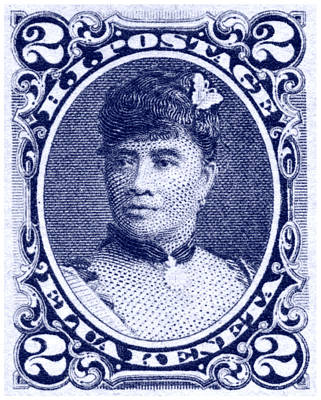 1890 Hawaiian Queen Liliuokalani Stamp Poster