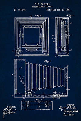 1891 Camera Us Patent Invention Drawing - Dark Blue Poster