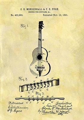 1891 Guitar Bridge Patent Poster