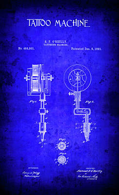 1891 Tattoo Machine Patent Blueprint Poster by Daniel Hagerman