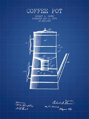 1892 Coffee Pot Patent - Blueprint Poster