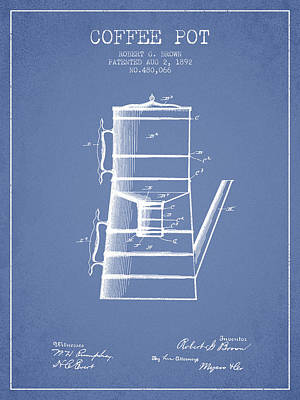 1892 Coffee Pot Patent - Light Blue Poster by Aged Pixel