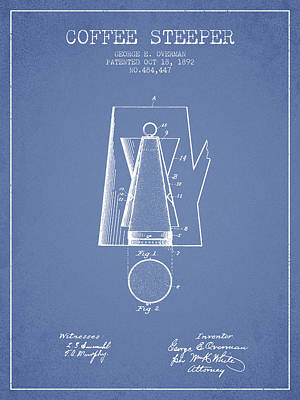 1892 Coffee Steeper Patent - Light Blue Poster