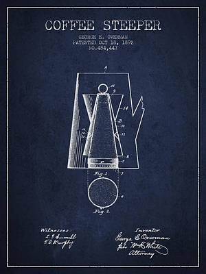1892 Coffee Steeper Patent - Navy Blue Poster