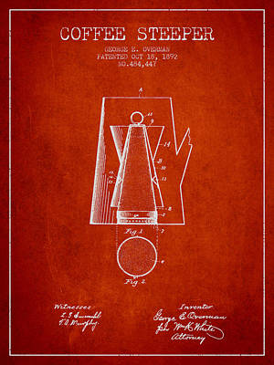 1892 Coffee Steeper Patent - Red Poster