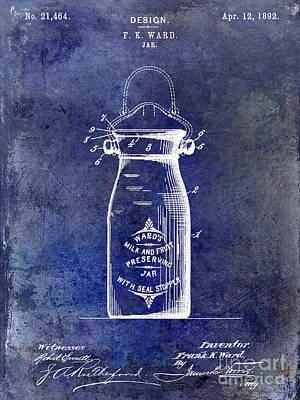 1892 Jar Patent  Blue Poster