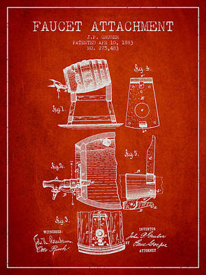 1893 Faucet Attachment Patent - Red Poster