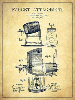 1893 Faucet Attachment Patent - Vintage Poster by Aged Pixel