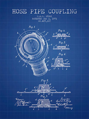 1893 Hose Pipe Coupling Patent - Blueprint Poster by Aged Pixel
