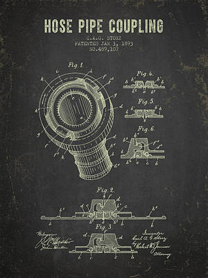 1893 Hose Pipe Coupling Patent- Dark Grunge Poster by Aged Pixel