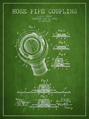 1893 Hose Pipe Coupling Patent - Green Poster