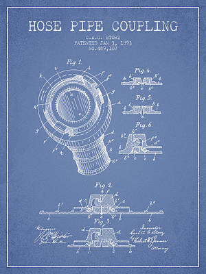 1893 Hose Pipe Coupling Patent - Light Blue Poster