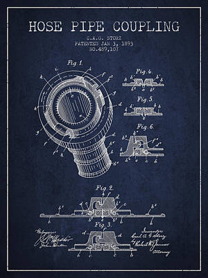 1893 Hose Pipe Coupling Patent - Navy Blue Poster