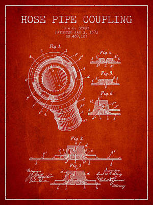 1893 Hose Pipe Coupling Patent - Red Poster by Aged Pixel