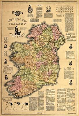 1893 Ireland Vintage Map Poster by Dan Sproul