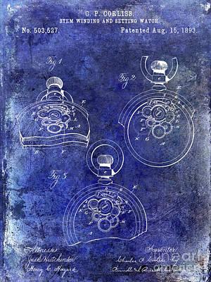 1893 Pocket Watch Patent Blue Poster by Jon Neidert