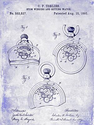 1893 Pocket Watch Patent Blueprint Poster by Jon Neidert