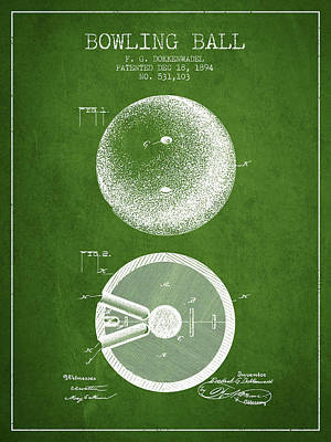 1894 Bowling Ball Patent - Green Poster by Aged Pixel