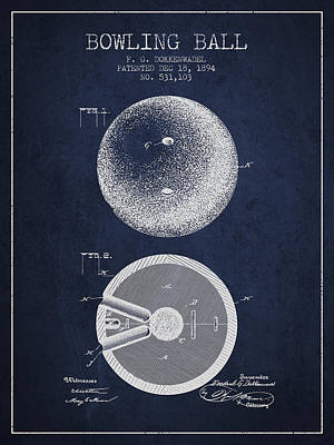 1894 Bowling Ball Patent - Navy Blue Poster by Aged Pixel