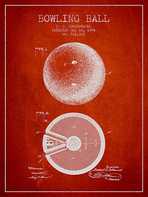 1894 Bowling Ball Patent - Red Poster by Aged Pixel