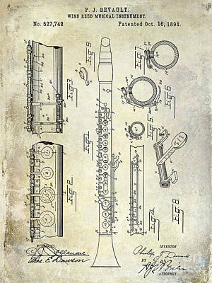 1894 Clarinet Patent Poster by Jon Neidert