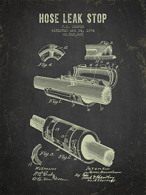 1894 Hose Leak Stop Patent- Dark Grunge Poster by Aged Pixel