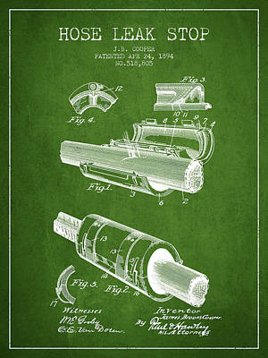 1894 Hose Leak Stop Patent - Green Poster by Aged Pixel