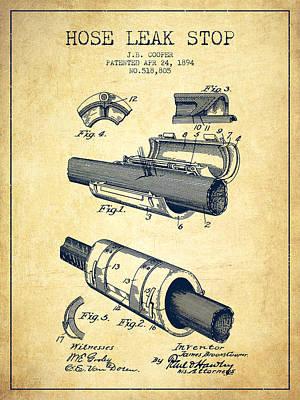 1894 Hose Leak Stop Patent - Vintage Poster by Aged Pixel