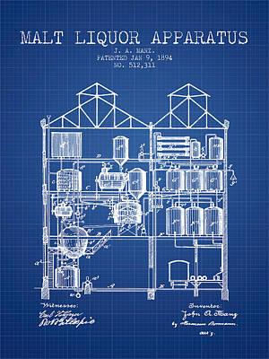 1894 Malt Liquor Apparatus Patent - Blueprint Poster by Aged Pixel