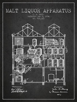 1894 Malt Liquor Apparatus Patent - Charcoal Poster by Aged Pixel