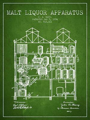1894 Malt Liquor Apparatus Patent - Green Poster by Aged Pixel