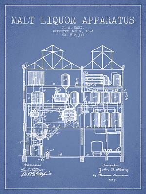 1894 Malt Liquor Apparatus Patent - Light Blue Poster by Aged Pixel
