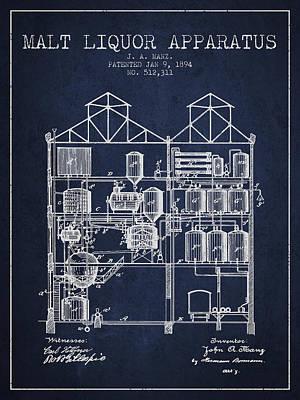 1894 Malt Liquor Apparatus Patent - Navy Blue Poster by Aged Pixel