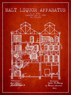 1894 Malt Liquor Apparatus Patent - Red Poster by Aged Pixel