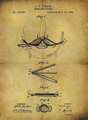 1894 Mustache Curler Patent Poster by Dan Sproul