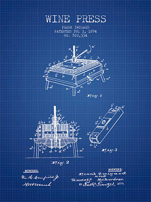 1894 Wine Press Patent - Blueprint Poster by Aged Pixel