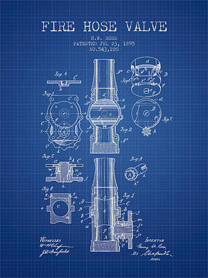 1895 Fire Hose Valve Patent - Blueprint Poster by Aged Pixel