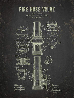 1895 Fire Hose Valve Patent- Dark Grunge Poster by Aged Pixel