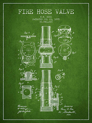 1895 Fire Hose Valve Patent - Green Poster by Aged Pixel