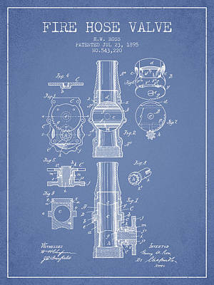 1895 Fire Hose Valve Patent - Light Blue Poster by Aged Pixel
