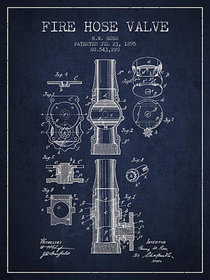 1895 Fire Hose Valve Patent - Navy Blue Poster by Aged Pixel