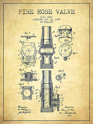 1895 Fire Hose Valve Patent - Vintage Poster by Aged Pixel