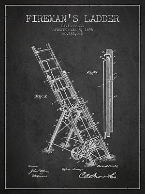1895 Firemans Ladder Patent - Charcoal Poster by Aged Pixel