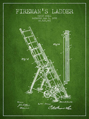 1895 Firemans Ladder Patent - Green Poster by Aged Pixel