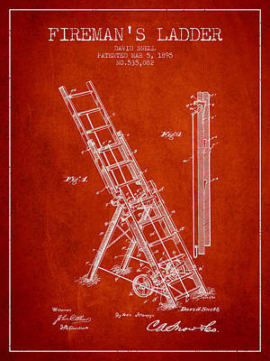 1895 Firemans Ladder Patent - Red Poster by Aged Pixel