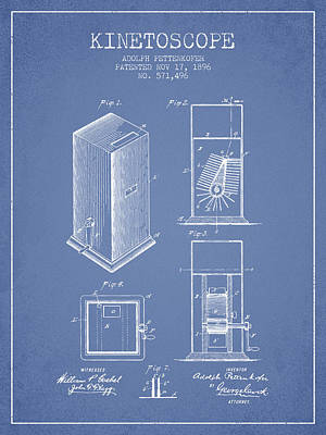 1896 Kinetoscope Patent - Light Blue Poster by Aged Pixel