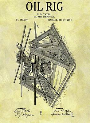 1896 Oil Rig Illustration Poster