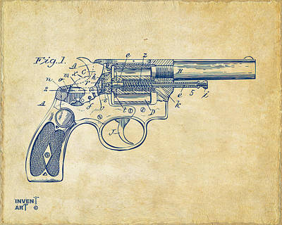1896 Wesson Safety Device Revolver Patent Minimal - Vintage Poster by Nikki Marie Smith
