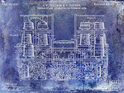 1897 Beer Brewering Patent Blue Poster by Jon Neidert